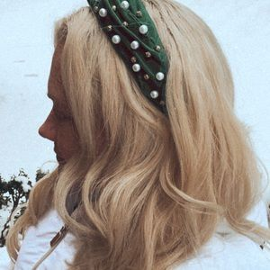HANDMADE Green Embellished Twist Knot Headband